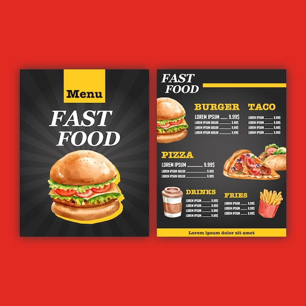 Fast food restaurant menu. frame border menu list appetizer food Free Vector