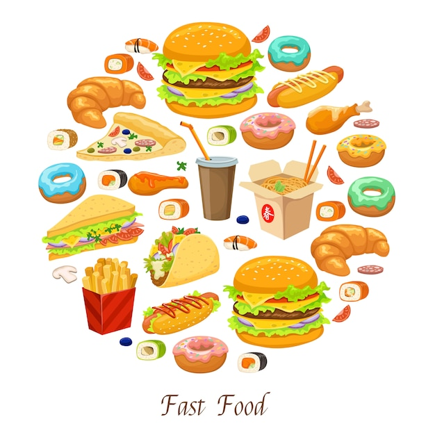 Fast food round composition Free Vector