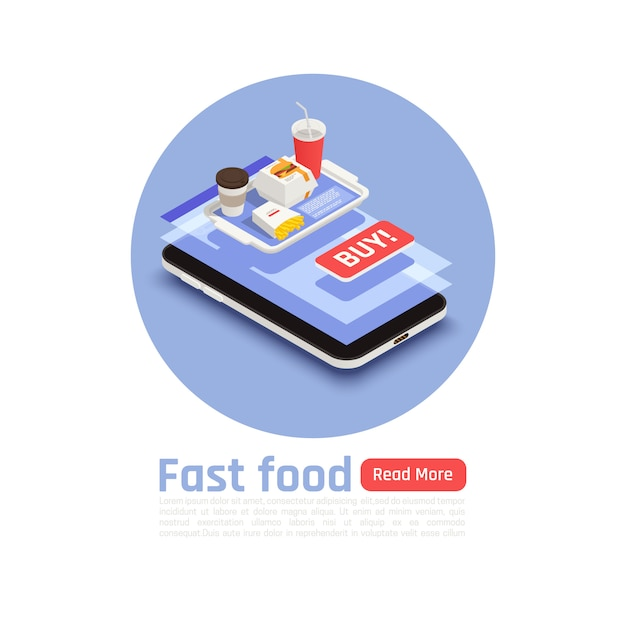 Fast food round design concept with tray of hamburger fried potatoes and coffee isometric Free Vector