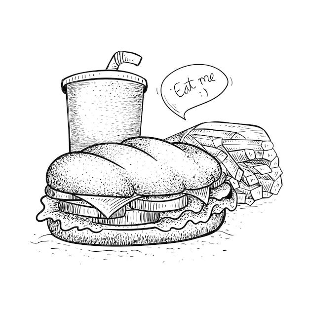 ファーストフードサンドイッチパック。手描き風サンドイッチイラスト Premiumベクター