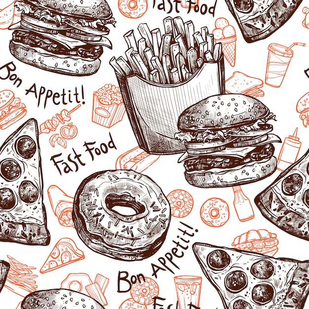 Fast food seamless pattern Free Vector