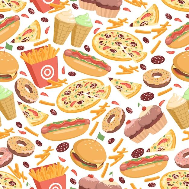 Fast food seamless pattern Premium Vector