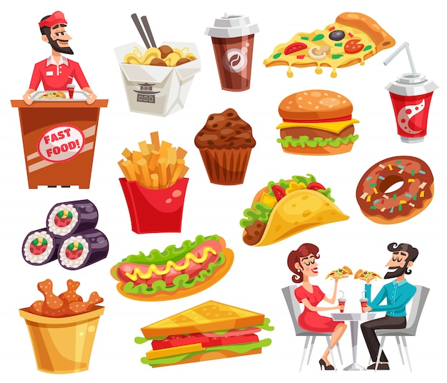Set di fast food Vettore gratuito