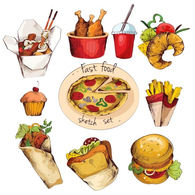 Fast food sketch set Free Vector