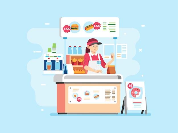 ハンバーガー、ホットドッグ、ドーナツ、飲料を販売するファーストフードの小さなスタンド。制服と帽子をかぶって、女性のキャラクターをレジ係にしています。ポスター、ウェブサイトの画像などに使用 Premiumベクター