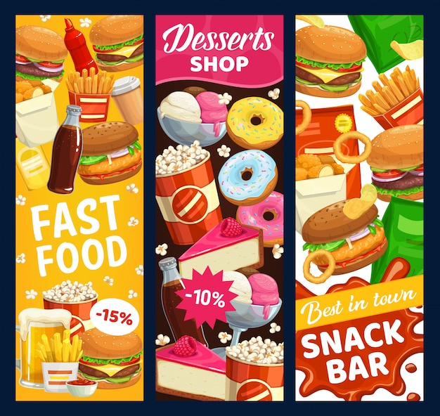 Fast food snack bar and desserts  banners. street meals burgers, donuts and popcorn, beer, french fries and soda drink. chicken nuggets, cheeseburger and ice cream takeaway fastfood menu Premium Vector
