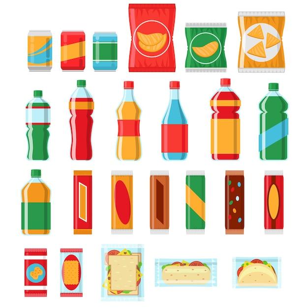 ファーストフードの軽食や飲み物のフラットベクトルアイコン。自動販売機製品、スナック食品、チップ製品、パックスナックイラスト 無料ベクター