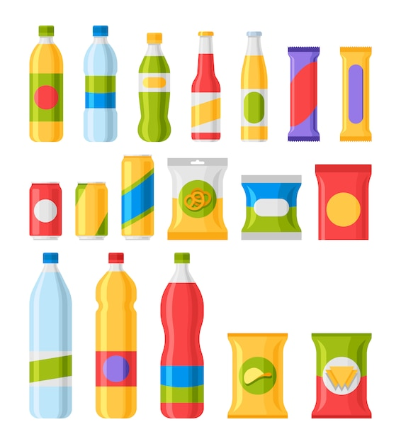 Fast food snacks and drinks flat  icons. Premium Vector