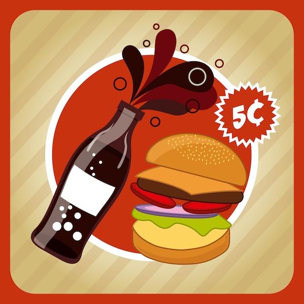 Fast food and soda design Premium Vector