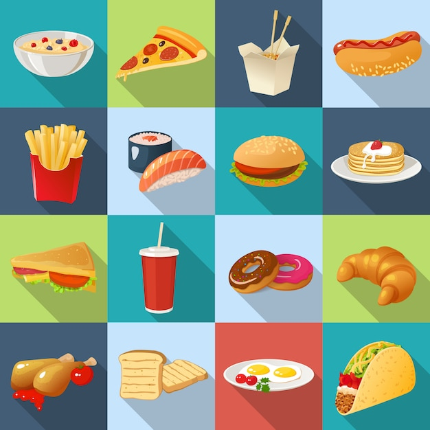 Fast food square icon set Premium Vector