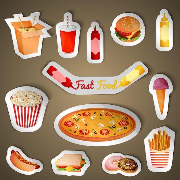 Fast food stickers Premium Vector
