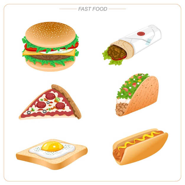 Fast food such as hamburger, pizza, taco, hot dog, burrito and egg toast. unhealthy eating. Premium Vector