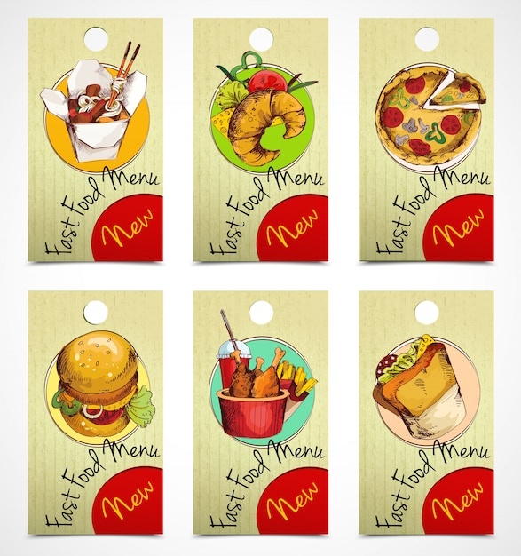Fast food tags Free Vector
