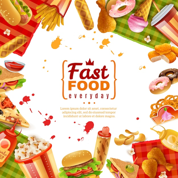 Fast food template Free Vector