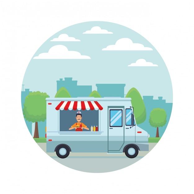 Fast food truck cartoon Premium Vector