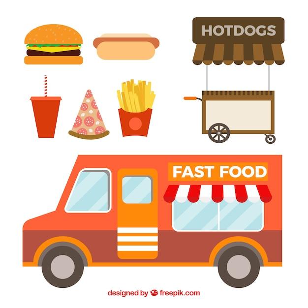 Fast food truck in flat design