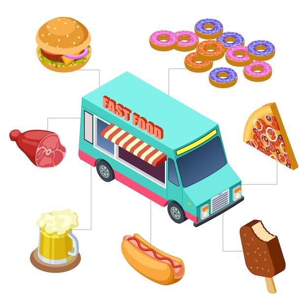 햄버거, 도넛, 맥주 및 바베큐 요소와 패스트 푸드 트럭 프리미엄 벡터
