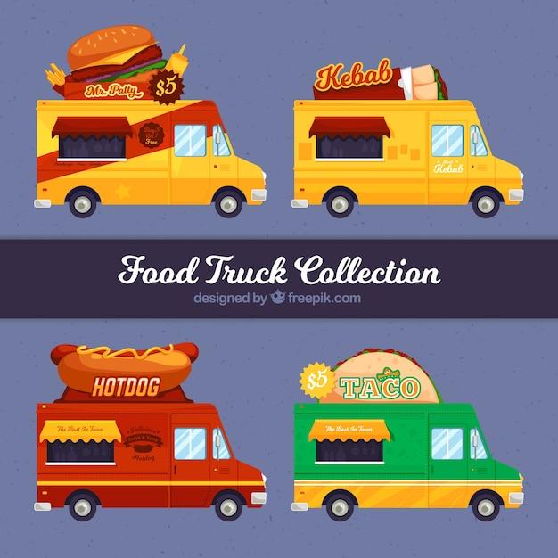 Fast food trucks with flat design