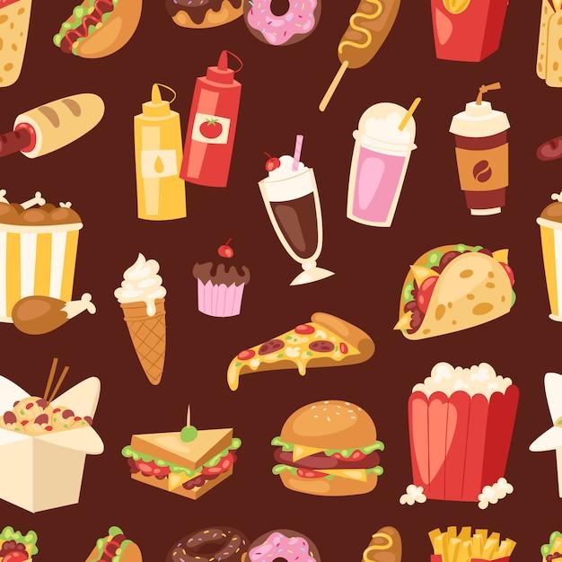 ファーストフードの不健康な漫画のハンバーガーサンドイッチ、ハンバーガー、ピザの食事ファーストフードレストランメニュースナックイラスト。 Premiumベクター