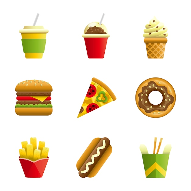 Fast food vector cartoon icon set Premium Vector