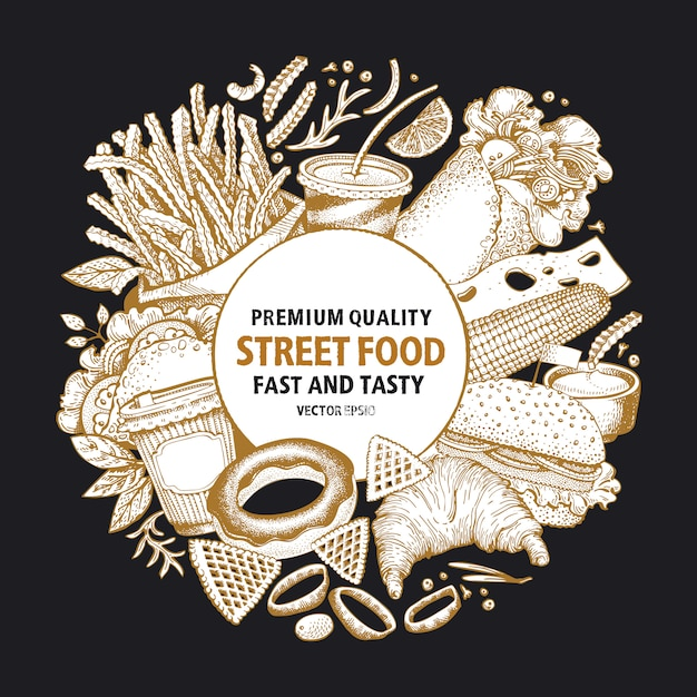 Fast food vector frame. street food banner design template. Premium Vector