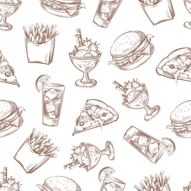 Fast food vector seamless background, menu pattern for your packing design. breakfast burger and dri Premium Vector