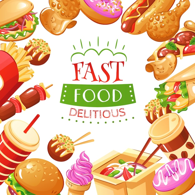 Fast food with burgers hot dogs drinks french fries pizza and desserts illustration Free Vector