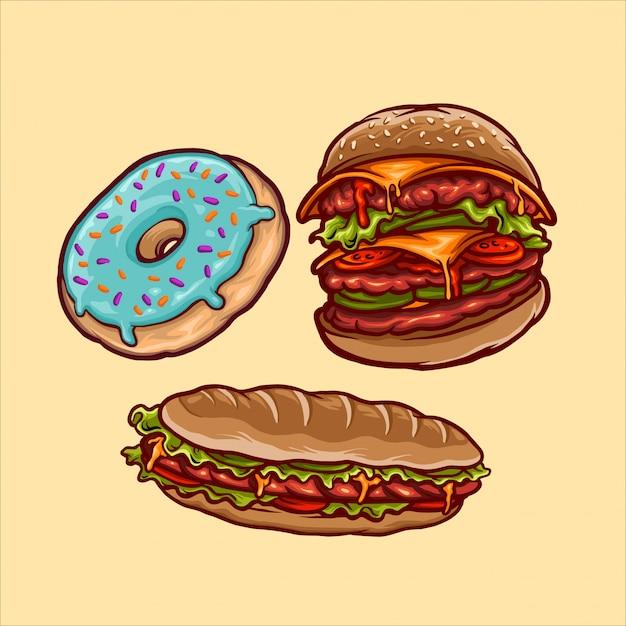 Fast foods Premium Vector