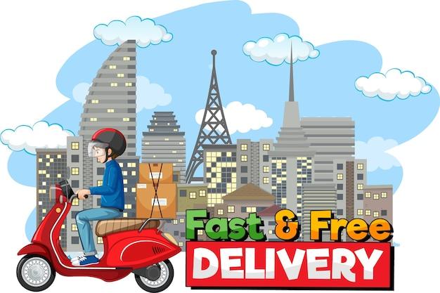 Logo di consegna veloce e gratuito con bike man o corriere in sella in città Vettore gratuito