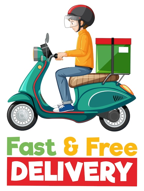 Fast and free delivery logo with bike man or courier Free Vector