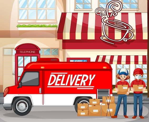 Logo di consegna veloce e gratuito con furgone o camion presso la caffetteria Vettore gratuito