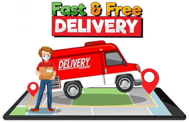 Logo di consegna veloce e gratuito con furgone o camion Vettore gratuito