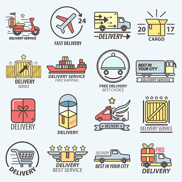 Fast free delivery service transports logo set Premium Vector
