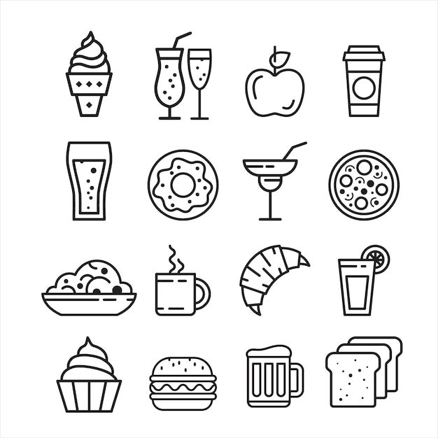 Набор иконок быстрого нездоровой пищи Premium векторы