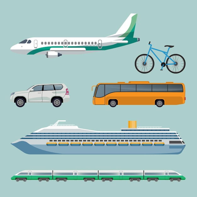 現代の輸送アイテムの高速輸送セット。飛行機、自転車、自動車、バス、豪華な船や電車でたくさんの車を使った漫画イラストのポスター。旅行のコンセプト Premiumベクター