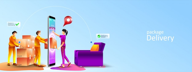Fast online delivery service package to living room at home by courier. women receive a package appear from screen phone by courier at home. illustration Premium Vector
