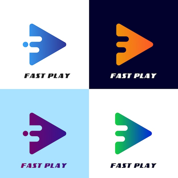 Fast play button logo template, for app design or etc Vector