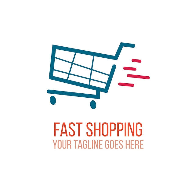 Fast shopping logo Free Vector