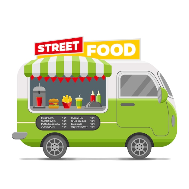 Fast street food vector caravan trailer Premium Vector