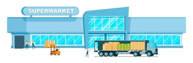 モールに重量を届ける高速倉庫トラック 無料ベクター