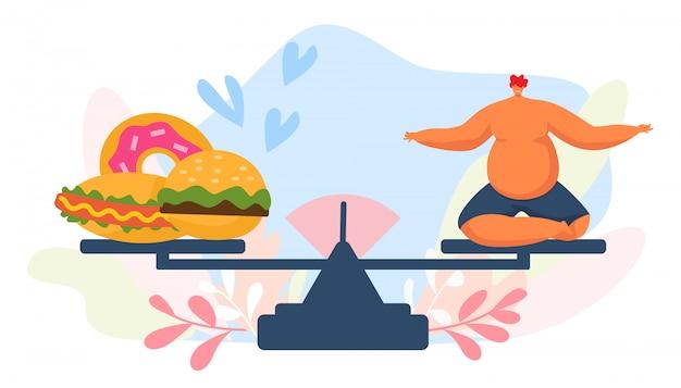 スケール、イラストのファーストフードとデブ男。不健康な太りすぎのペロンキャラクター、大きな成人男性が漫画のハンバーガーを食べる Premiumベクター