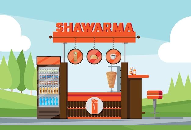 Fastfood kiosk with shawarma text Free Vector
