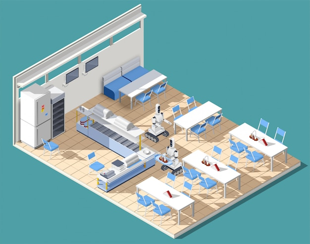 Fastfood restaurant isometric composition Free Vector