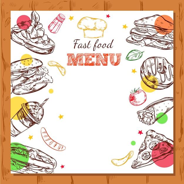 Фастфуд ресторан меню дизайн Бесплатные векторы