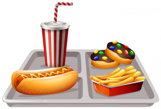 Fastfood and soft drink on tray Free Vector