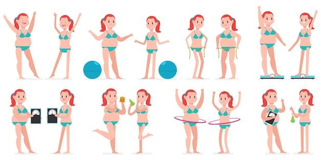 Толстая и худая девушка с обручем hule, фитнес-мячом, измерительной лентой, на весах. Premium векторы