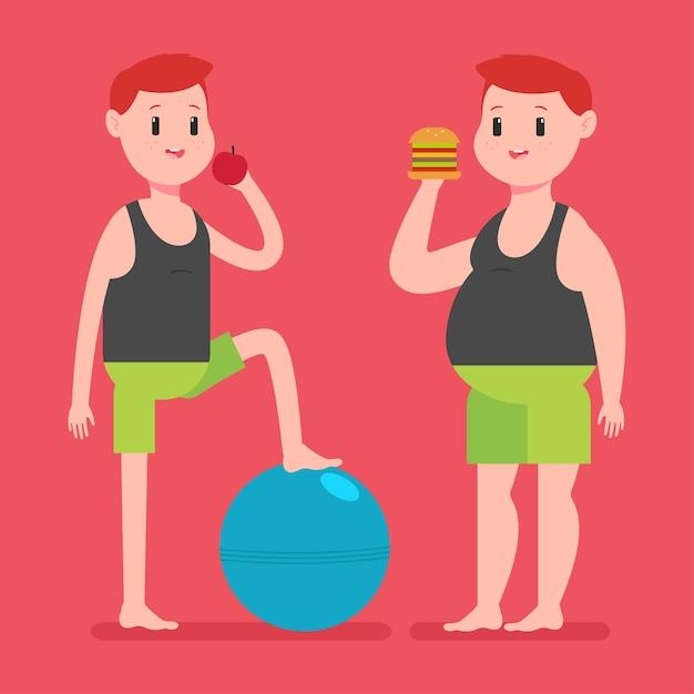 사과, 햄버거 및 피트니스 공을 가진 뚱뚱하고 얇은 남자 프리미엄 벡터