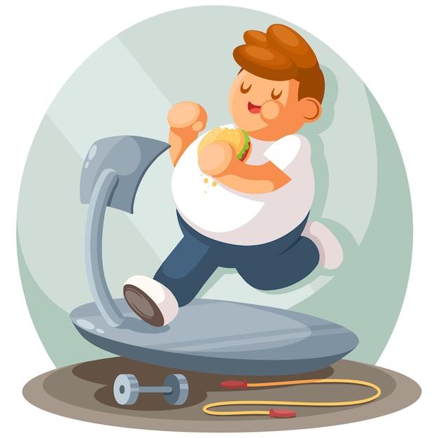 뚱뚱한 소년 조깅, 평면 만화. 스포츠, 활동적인 라이프 스타일, 체중 감량 개념 프리미엄 벡터