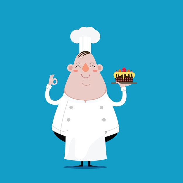 Fat chef happy and hold cake in hand Premium Vector