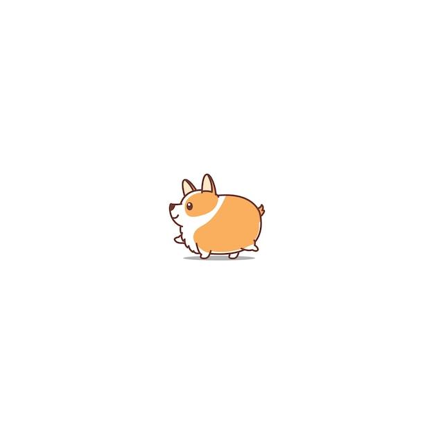 fat corgi dog walking cartoon icon vector premium download